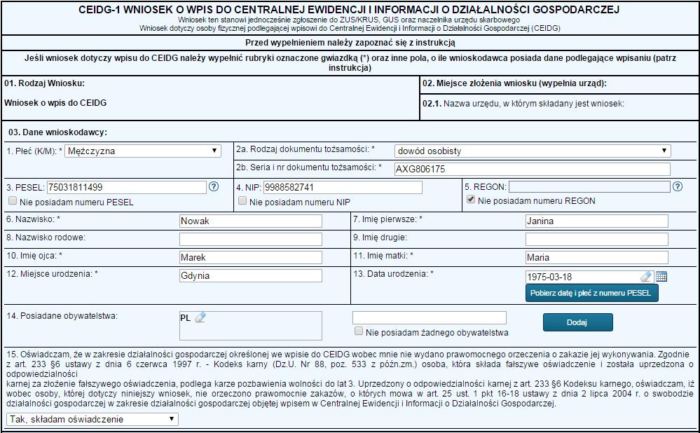Formularz CEIDG - przykład wypełnienia, część 1